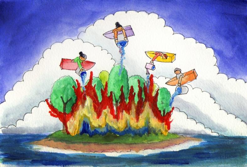 Desde Carril, las barcas volaron para apagar el fuego