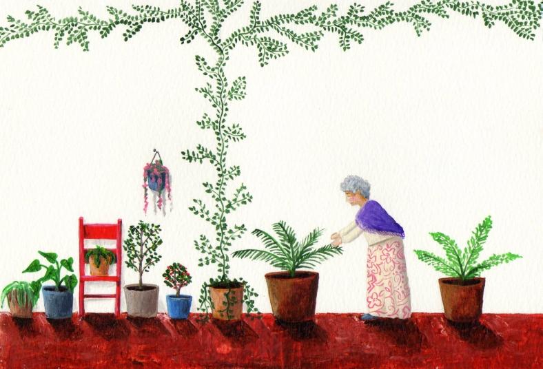 La abuela cuidando el jardín de casa